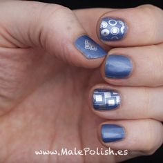 A shimmery blue stamped with chrome | Male Polish(es)
