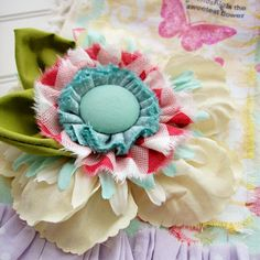 Flower idea with a button and scrap fabric
