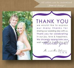 Wording Ideas For Wedding Thank You Cards : you note wedding thank you card printable printable wedding thank you ...