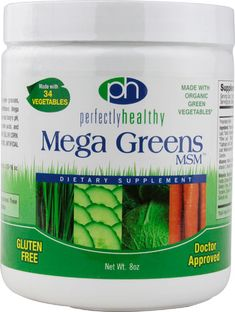 Cheap Perfectly Healthy Mega Greens Plus MSM Powder, 8 Ounce Organic Supplements, Protein Supplements, Parsley Tea, Nutrition Shakes, Plant Protein, Organic Plants, Greens Recipe, Vitamins And Minerals, Healthy Life