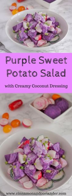 Purple Sweet Potato (Ube) Salad with Coconut Dressing – Vegan