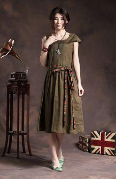 Long Pleated Linen Dress / Handmade Sundress / Cocktail Formal Dress