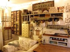 In the studio of Suzan ~ love all her drawers and shelfs!
