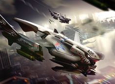 Rasmus Poulsen | technouveau | Sci-Fi Futuristic flying aircraft ships fighters battle | Dropship Attack