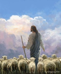 Painting of Jesus Christ white robe blue robe staff sheep pink clouds blue clouds white fluffy clouds blue sky Pictures Of Jesus Christ, Images Of Christ, Religious Pictures, Religious Art, Jesus Christ Painting, Jesus Art, Lord Is My Shepherd, The Good Shepherd, Jesus Shepherd