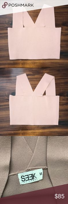 LF SEEK The Label Square Neck Crop Top Lf seek the label bandage crop top from Spring 2017. Size medium in a blush pink like color. Fit me and I'm a small I think it's fine for s-m.  I love this and wanted the crop so bad but it's blending with my skin because it's a bit darker than the bodysuit and that just bugs me. I'm still a bit iffy because of how hard it was for me to get this color but the price can be semi negotiated LF Tops Crop Tops