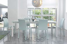 Chat Dining Table with Acid White Top and Marta Chairs by Bonaldo