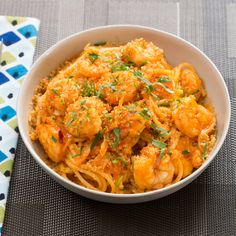 Spicy Shrimp Spaghetti with Cabbage & Toasted Breadcrumbs