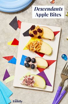 Create a Descendants 2 viewing party with all the wicked charm. You don't have to be rotten to the core to enjoy this healthy snack. Spread peanut butter or flavored cream cheese over apple slices and sprinkle with fruit or pretzels. Click for more Descendants recipes, and inspiration for your next Disney party. Disney Channel Descendants 2, Descendants Wicked World, Disney Inspired Food, Disney Food, Rotten To The Core, Apple Bite, Disney Parties, Tasty, Yummy Food