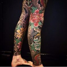 Floral Tattoo by Bonel Tattooer #japanese #japanesetattoos #japanesetattoo #irezumi #irezumitattoo #BonelTattoo