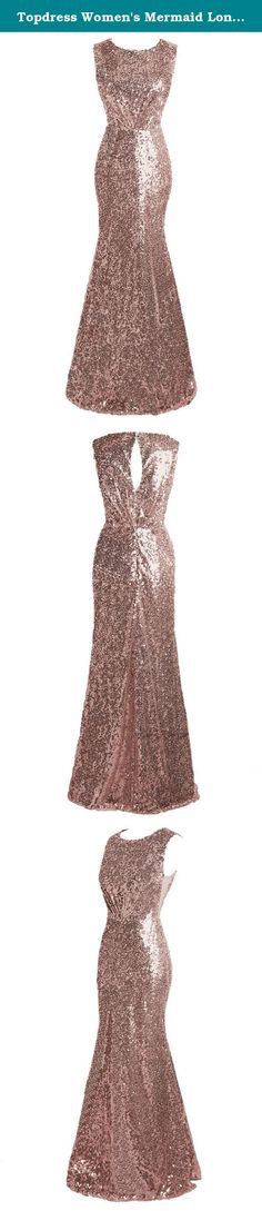 Topdress Women's Mermaid Long Bridesmaid Dress Sequins Wedding Party Prom Gown Rose Gold US 12. Brand Name: Topdress Silhouette: Mermaid Neckline: Jewel Sleeve Length: Sleeveless Embellishment: Sequins, Ruffles Fabric: Sequined Back Design: Key-Hole Back/Backless Built-in Bra: Yes Train Length: Floor Length Suit for prom, party, evening event, wedding party, other special occasions. In our factory, making dress needs about 6-8 business days.The shipping time is decided by the country of...