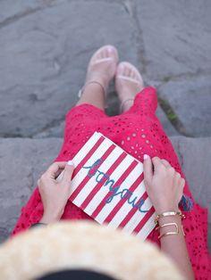 Hat: Forever 21   Shirt: c/o Chicwish   Skirt: Zara {old, similar}   Shoes: c/o Stuart Weitzman {similar}   Clutch: c/o Kayu Designs   Sunglasses: Karen Walker   Necklace: Kate Spade   Watch: Daniel Wellington   Bangle: c/o Jet Set Candy