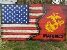 American Flag USMC Military Rustic Distressed Charred
