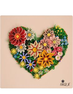 Quilled Floral Heart by: www.facebook.com/QuillingsProductAndMore/photos_stream