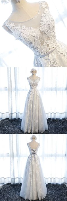 Little Cute   High quality gray tulle lace long prom dress, evening dress   Online Store Powered by Storenvy
