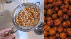 TOPP SNACKS: Ristede kikerter er et supert alternativ til potetgull. Looks Yummy, Healthy Snacks, Good Food, Beans, Chips, Nutrition, Sweets, Vegetables, Desserts