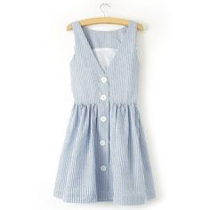Striped V-Neck Sleeveless Single-Breasted Women's Sundress