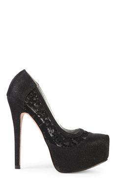 Deb Shops high heel platform with black glitter mesh and side lace $36.50
