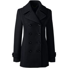 Lands' End Women's Petite Insulated Wool Peacoat ($199) ❤ liked on Polyvore featuring outerwear, coats, black, pea jacket, lands end coats, wool peacoat, lands' end and pea coat