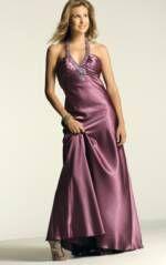 Beaded charmeuse halter gown