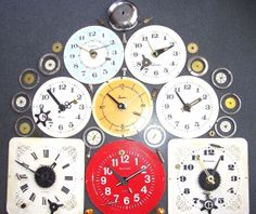 Lot 13 Vintage Russian Alarm Clock Dials Brass Gears Hands Steampunk Parts 1 of 2