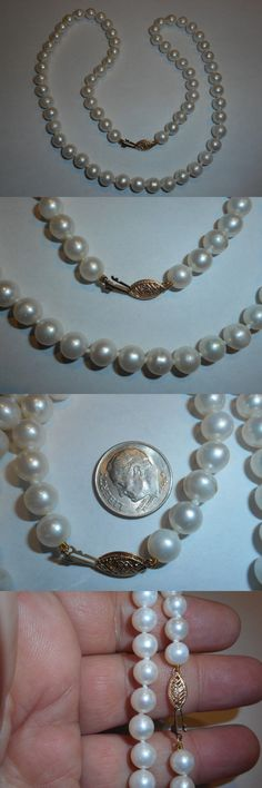 Necklaces and Pendants 165042: 14K White High Quality Round 7Mm Cultured Pearl Vintage 20 Necklace Unused Old -> BUY IT NOW ONLY: $149.99 on eBay!