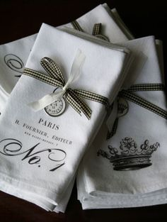Idea: French inspired napkins tied with a gingham ribbon and handstamped tag