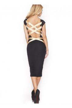 Q3064 Quontum Backless Midi Dress with Gold Straps