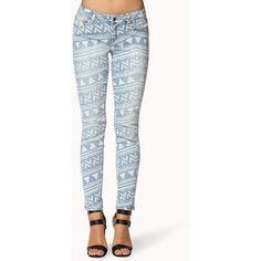 FOREVER 21 Tribal Print Skinny Jean