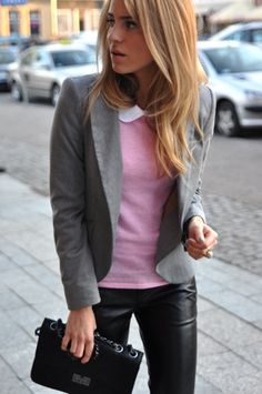 Gray blazer, pink sweater, leather pants-- Like the mix of edgy and conservative. Prob only way to consider leather/skinny jeans for those of us who rnt in our 20s anymore....