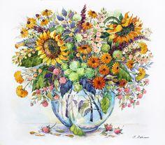 Посмотреть иллюстрацию Елена Вавилина - Букет с подсолнухами и ягодами.