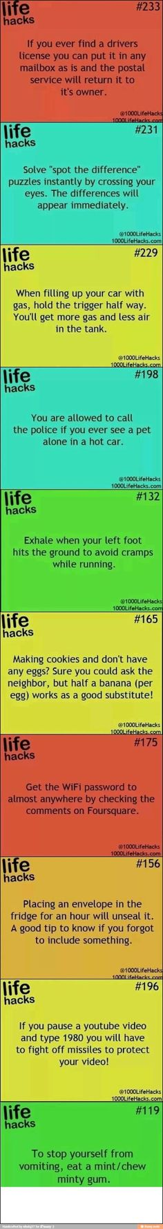 Life hacks. If only I could remember them all