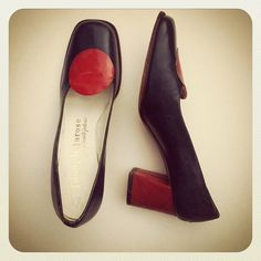1960s Joseph Larose Mod Block Heel Shoes by vanvoguevintage