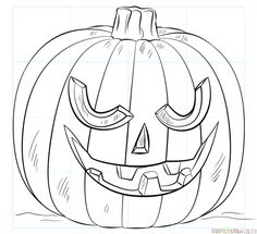 How to draw a Jack-o'-lantern step by step. Drawing tutorials for kids and beginners.