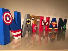 Lettres décoratives personnalisées thème super-héros - 12 cm