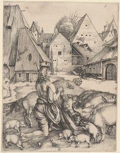 """Albrecht Dürer """"Prodigal Son"""" Engraving - 1496"""