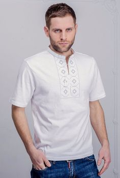Men's short sleeve shirt with white/gray embroidery.