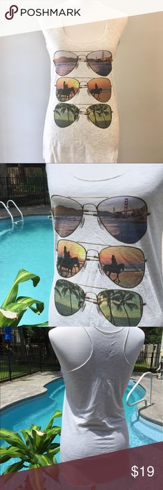 """😎NWOT Sunglasses Graphic Racerback Tank Top😎 Tank top with sunglasses graphics down the front. Racerback style. 28"""" long, 16"""" across chest. NWOT Tops Tank Tops"""