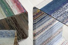 lars hofsjö recycles swedish rag rugs into torp and dunker tables