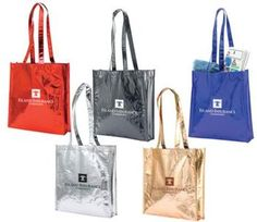 Metallic Laminated Non Woven Gift Tote Bags,  available in five colors: Red, Black, Blue, Silver, Gold #metallicgiftbags, #metallictotes, #promotionalproducts