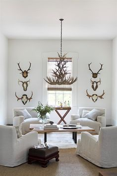 The modern custom cherrywood slab coffee table and cream-colored Verellan chairs allow the antique antlers and antler chandelier to take center stage. Image: William Abranowicz