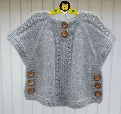 TC Hatice Karel [ knit sweater tunic poncho with side buttons kids sweater, Idea for poncho like top, j aimerais avoir les explications sv p merci, havenBirinci [ Wish I could find the pattern for this adorable little top. Baby Knitting Patterns, Knitting For Kids, Hand Knitting, Poncho Patterns, Crochet Patterns, Crochet Edgings, Cardigan Pattern, Crochet Motif, Knitting Ideas