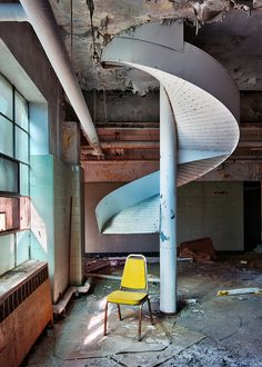 Laundry room in an abandoned psychiatric hospital