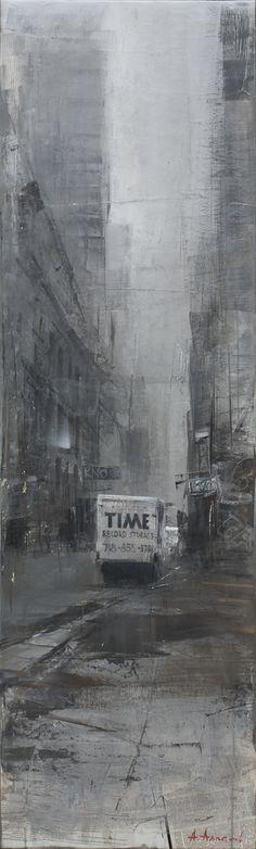 Alexey Alpatov, time, 2009 - mixed media on canvas, 160/40cm