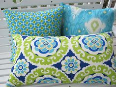 Blue Lime Green Pillow Cover Outdoor Ikat by wreathsplusbylyn