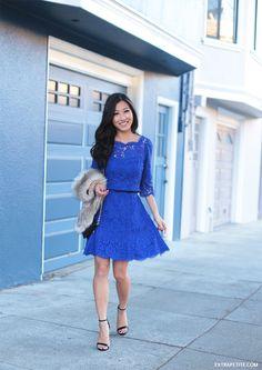Bold turquoise dress