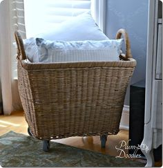 DIY Home Decor | Storage and Organization | Oversized Wicker Basket with Wheels {Pottery Barn knock off}