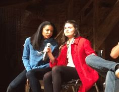 """"""" Renée and Phillipa being adorable while Lin performs The John Adams Rap. """""""