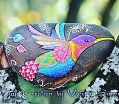 Painted rock, painted stone, stone painting, rock painting. Rock art, Stone art. Hummingbird