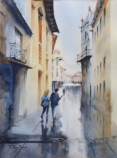 """calle de Astorga"",  acuarela 38x28"